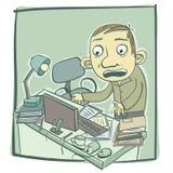 Mens met slordig bureau vector illustratie