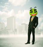Mens met smileygezicht van het dollarteken Royalty-vrije Stock Foto's