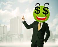 Mens met smileygezicht van het dollarteken Royalty-vrije Stock Afbeeldingen