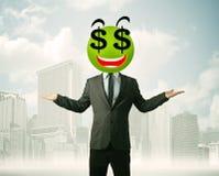 Mens met smileygezicht van het dollarteken Stock Afbeeldingen