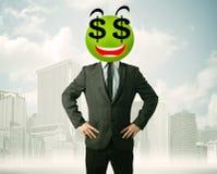 Mens met smileygezicht van het dollarteken Royalty-vrije Stock Foto