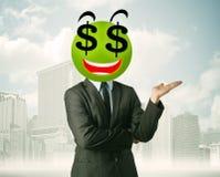 Mens met smileygezicht van het dollarteken Royalty-vrije Stock Fotografie