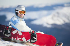Mens met snowboard Stock Fotografie