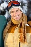 Mens met snowboard Royalty-vrije Stock Afbeelding