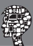 Mens met sociale media pictogrammen. Royalty-vrije Stock Afbeeldingen