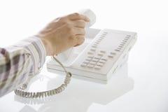 Mens met telefoonontvanger Stock Afbeeldingen