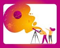 Mens met telescoop op zoek naar een ster vector illustratie