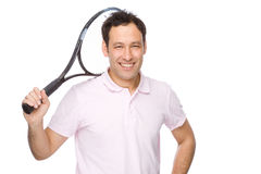 Mens met tennisracket Stock Fotografie