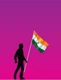 Mens met tricolorvlag Stock Afbeeldingen