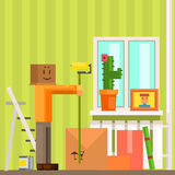 Mens met van de Kartondoos de Nieuwe Apartement Pixelated Illustratie van Mas Painting The Ceiling In Stock Foto's