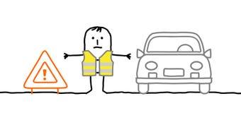 Mens met veiligheidsuitrusting op de weg wordt tegengehouden die Royalty-vrije Stock Afbeeldingen