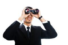 Mens met verrekijkers Stock Foto's