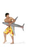 Mens met vliegtuig Stock Afbeelding