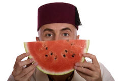 Mens met watermeloen Royalty-vrije Stock Fotografie