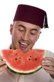 Mens met watermeloen Royalty-vrije Stock Afbeeldingen