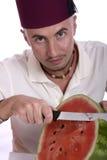 Mens met watermeloen Royalty-vrije Stock Foto's