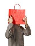 Mens met zak. Stock Afbeelding