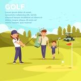 Mens met Zak Belangrijke Zoon om Golf te spelen leisure royalty-vrije illustratie