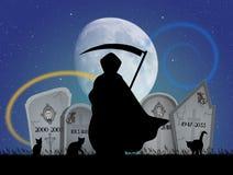 Mens met zeis in de begraafplaats royalty-vrije illustratie