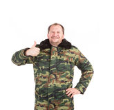 Mens in militair vest Stock Afbeelding