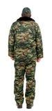 Mens in militair vest. Achtermening. royalty-vrije stock afbeeldingen
