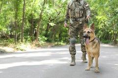 Mens in militaire eenvormig met Duitse herderhond Stock Afbeelding