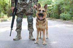 Mens in militaire eenvormig met Duitse herderhond royalty-vrije stock afbeelding