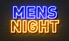 Mens Night Neon Sign On Brick Wall Background. Stock Images