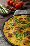 Mens omelette with chorizo Stock Photos