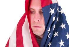 Mens omvat in de vlag van de V.S. Royalty-vrije Stock Foto's