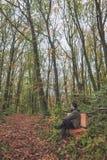 Mens op bank in bos Stock Afbeelding