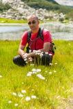 Mens op Berg Pirin Royalty-vrije Stock Foto's