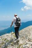 Mens op Berg Pirin Stock Afbeeldingen
