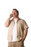 Mens op celtelefoon Stock Foto
