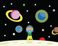 Mens op de maan royalty-vrije illustratie