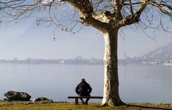 Mens op de oever van het meer royalty-vrije stock fotografie
