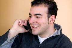 Mens op de Telefoon Stock Foto's