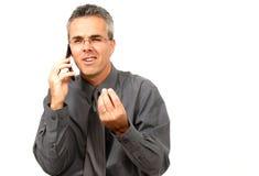 Mens op de Telefoon van de Cel Stock Foto's