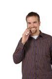 Mens op de Telefoon van de Cel Stock Fotografie