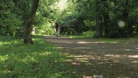 Mens op een fiets in de zomer in een park stock videobeelden