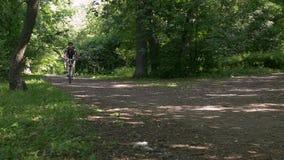 Mens op een fiets in de zomer in een park Langzame Motie stock video