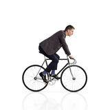 Mens op een fiets op wit wordt geïsoleerd dat Stock Foto
