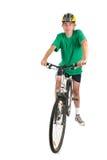 Mens op fiets in studio royalty-vrije stock afbeelding