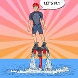 Mens op flyboard Extreme watersport Pop-artillustratie stock illustratie