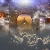 Mens op geestelijke reis vector illustratie