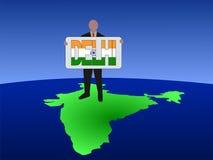Mens op kaart van India Stock Afbeeldingen