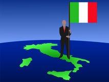 Mens op kaart van Italië met vlag stock illustratie