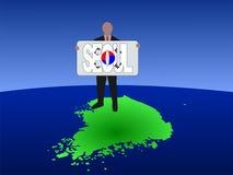 Mens op kaart van Zuid-Korea Royalty-vrije Stock Foto