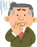 Mens op middelbare leeftijd in een moeilijk kostuum _manager vector illustratie