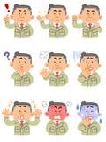 Mens op middelbare leeftijd in het werkkleren _hoger lichaam _9 types vector illustratie